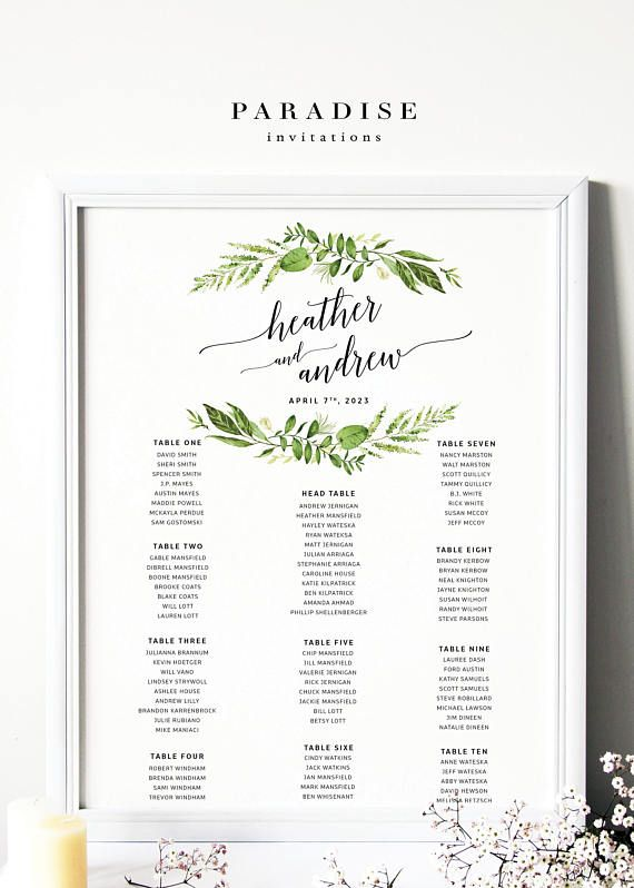 Green Wreath WEDDING TABLE SEATING Chart, Modern Calligraphy