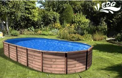 piscine hors sol mambo en acier ovale aspect bois bons. Black Bedroom Furniture Sets. Home Design Ideas