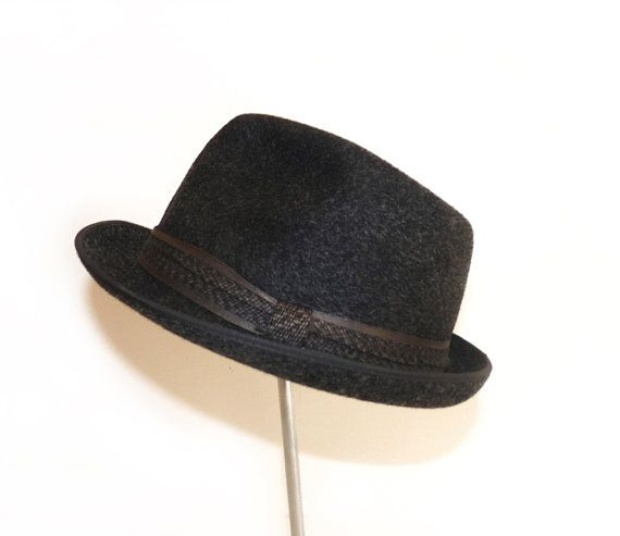 Vintage Trilby Hat  Black and grey reflection by FrenchVintageShop, €25.00