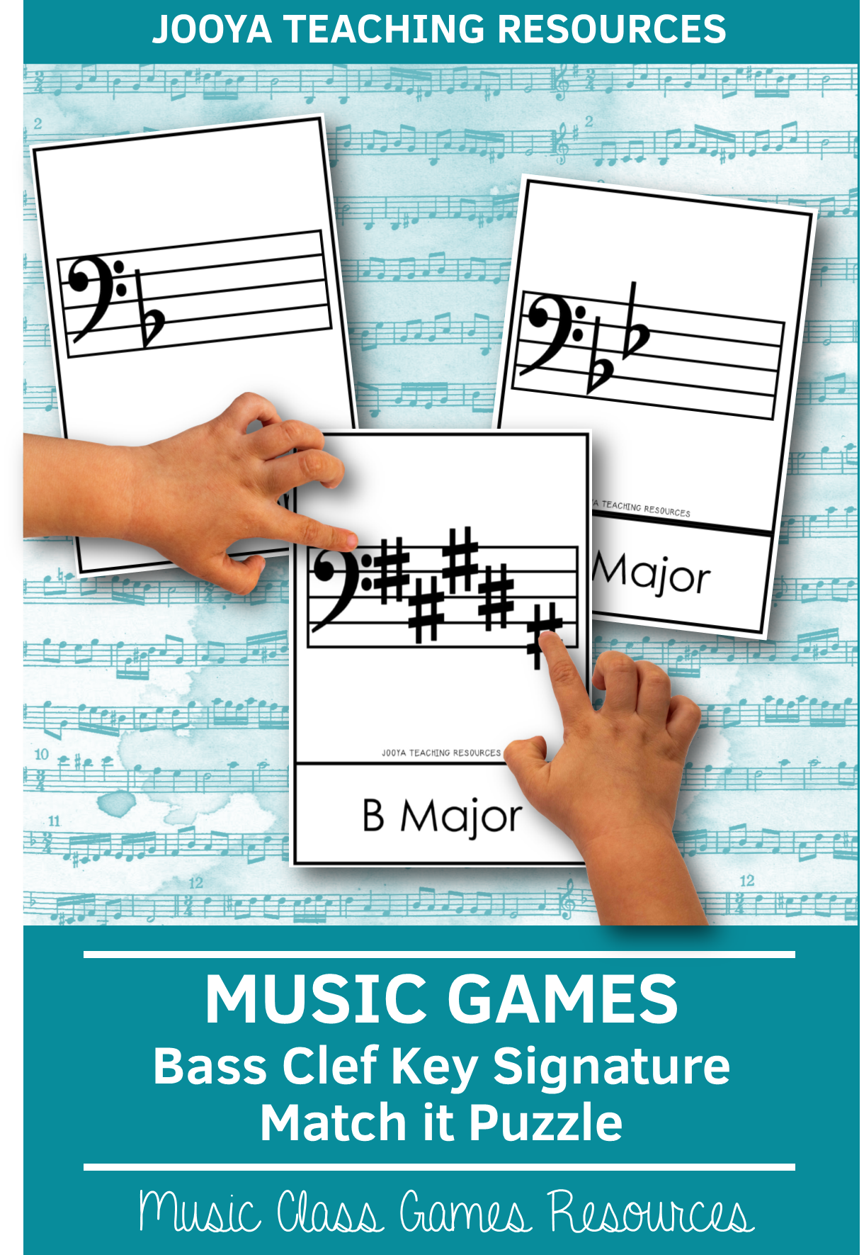Bass Clef Key Signatures Match It Puzzle Cards In