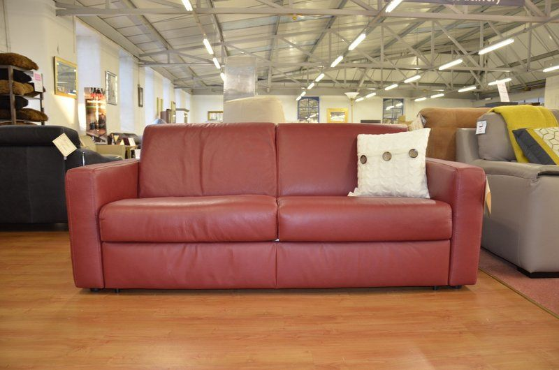 Leather Sofas & Suites : Double Sofa Bed in Oxblood Red ...