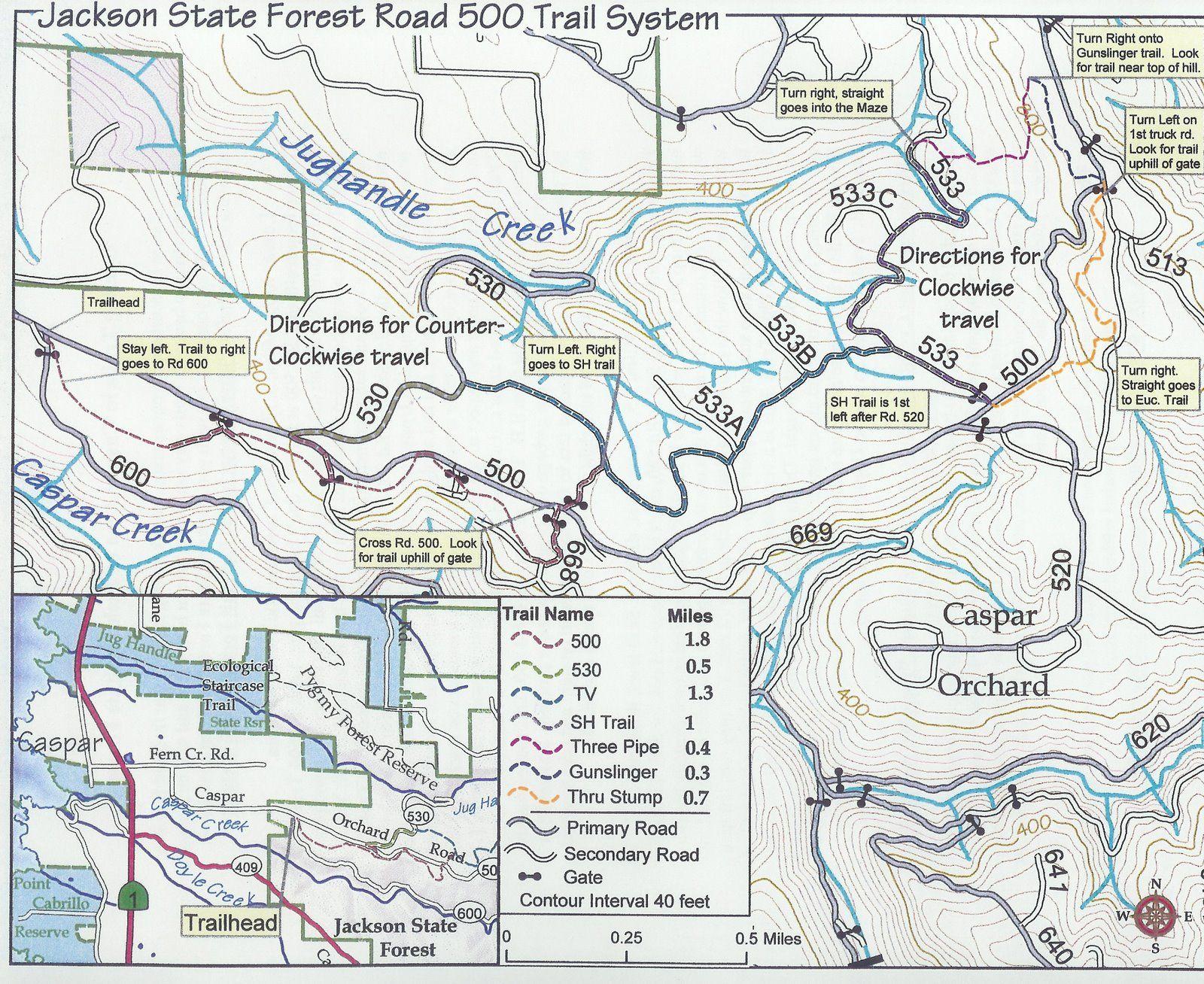 Unofficial Trails Near Caspar Orchard Road Rd 500 Trail Trail Maps Mtb Trails