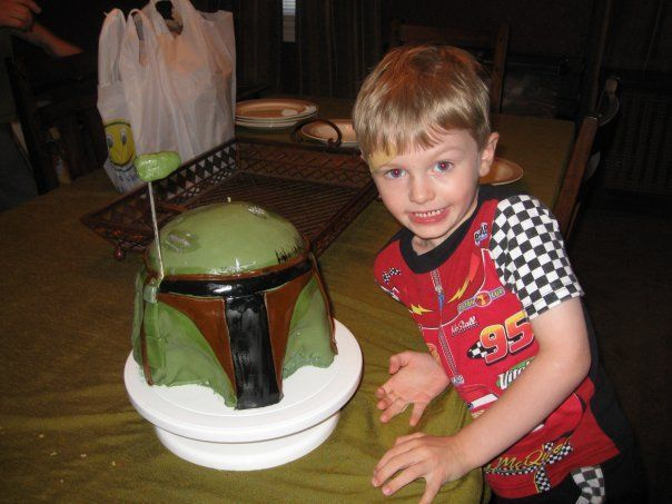 Calling all Star Wars fans.......this was the first sculpted cake we did for Brian's 3rd Birthday? I think?