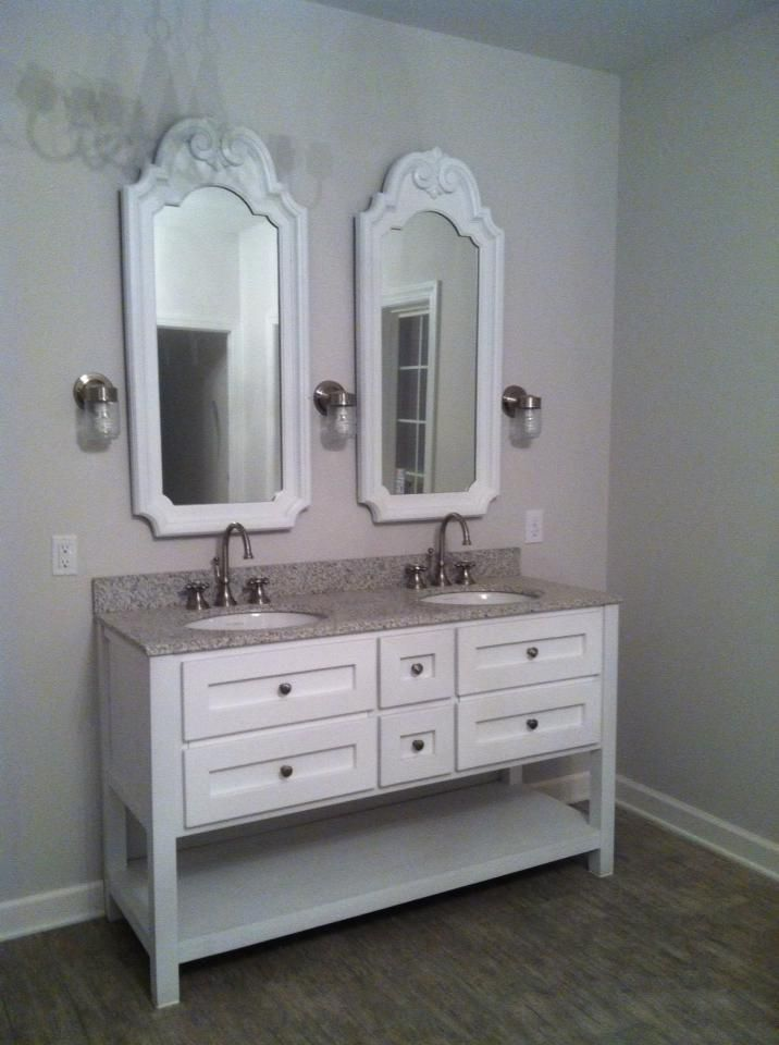 Bathroom Vanity Lights Pottery Barn : Master bathroom vanity, gray granite vanity top (Lowes), repainted junk store mirrors, outdoor ...