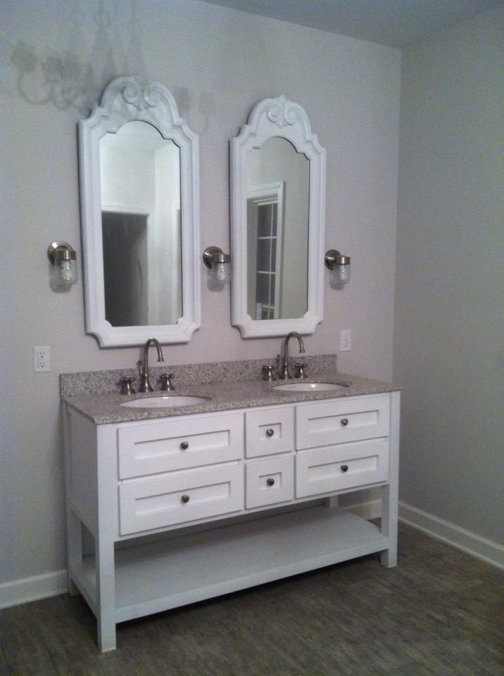Master bathroom vanity, gray granite vanity top (Lowes), repainted ...