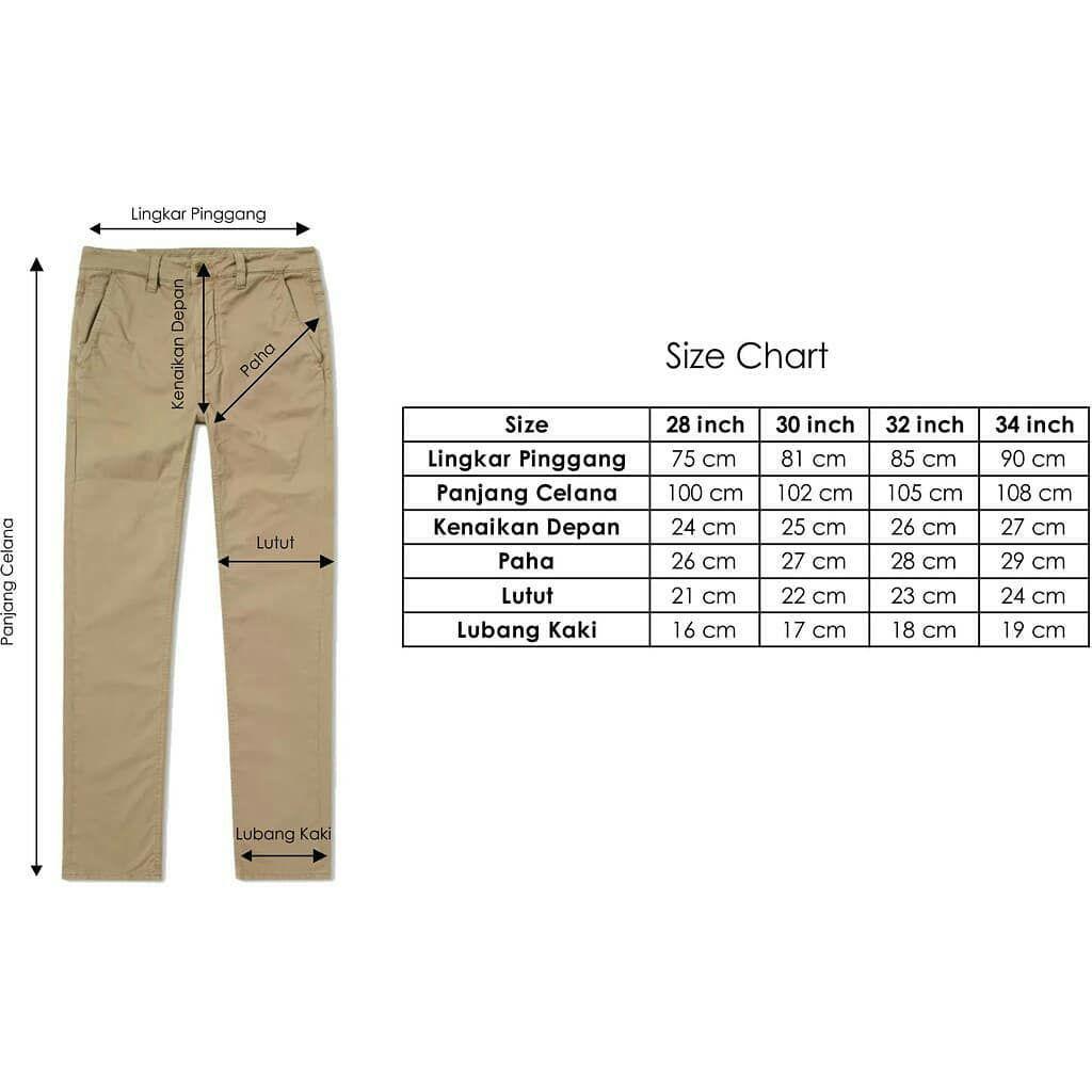 Size Chart Celana Chino Hanya Genap 28 30 32 34 Tidak Relay 12 Volt 5 Kaki Ada