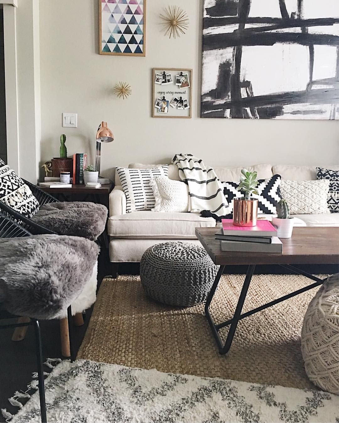 A Quick Peek Into My Modern Bohemian Living Room Neutral Decor With Pops Of Modern Bohemian Living Room Bohemian Living Room Decor Bohemian Style Living Room