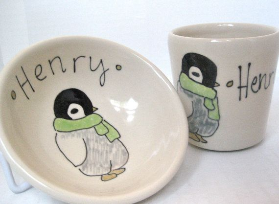 Personalized baby gift penguin small bowl and by abbyberkson 6000 personalized baby gift penguin small bowl and by abbyberkson 6000 negle Images