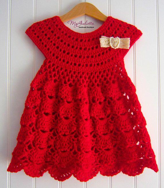 Baptismal Fresh Red Dress, Red Girl Dress, Crochet Girl Dress Lace Bow, Baby Girl Christening Dress, Flower Girl Baptismal Dress with Hat