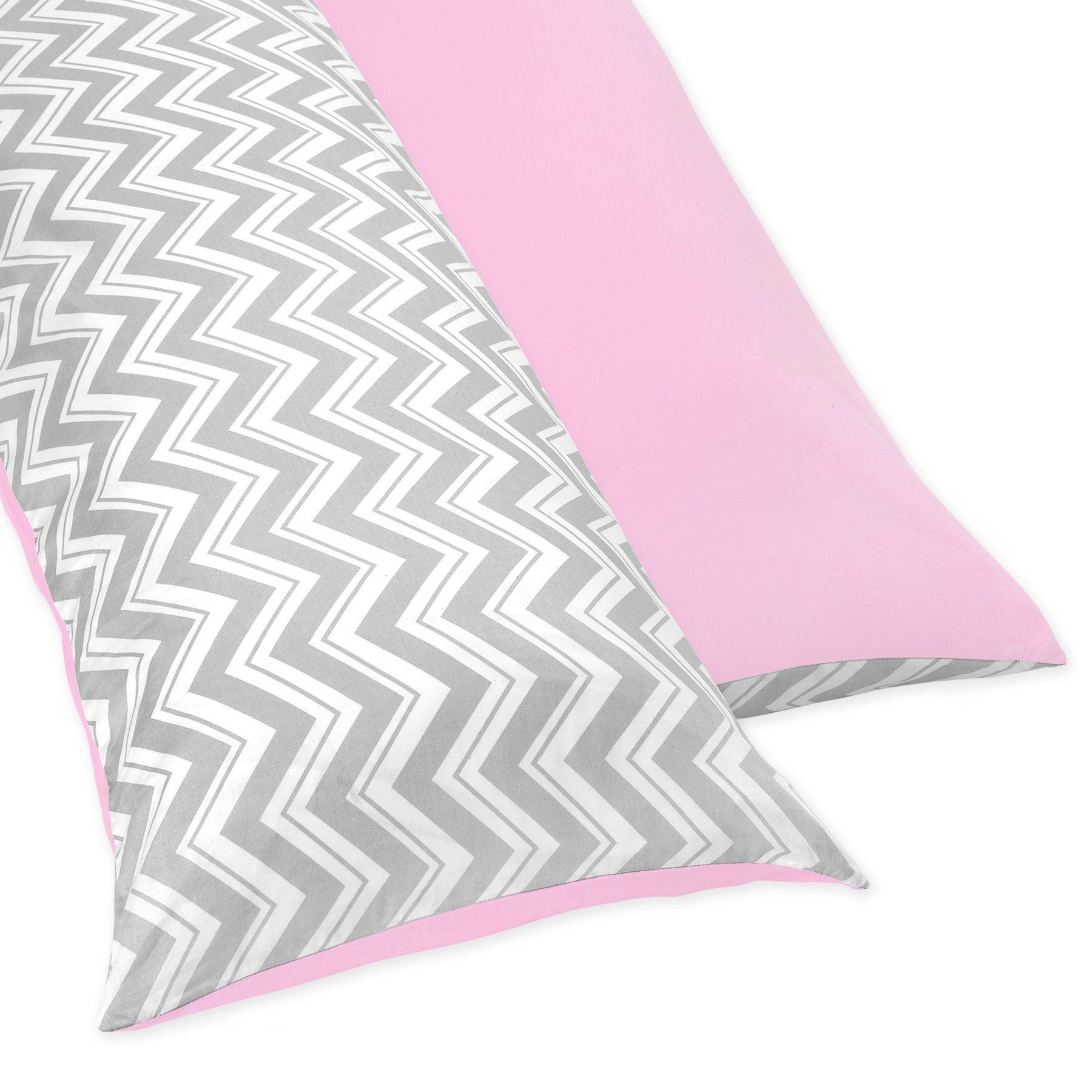Sweet Jojo Designs Pink And Gray Chevron Full Length Double