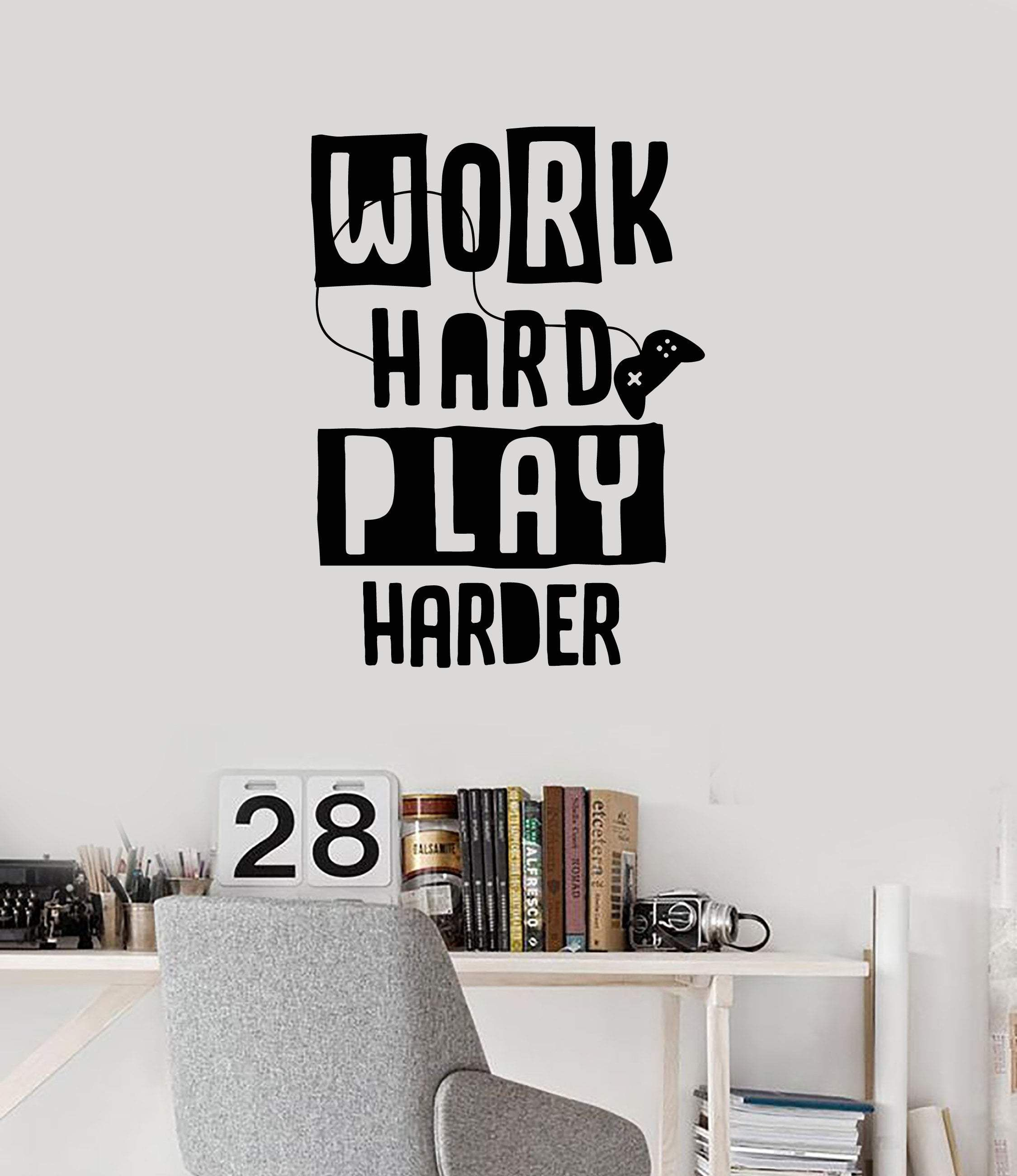 Gamer Quote Vinyl Wall Decal Video Game Work Hard Play Harder Art Stickers Mural Ig5308 Gamer Quotes Wall Decals Vinyl Wall Decals
