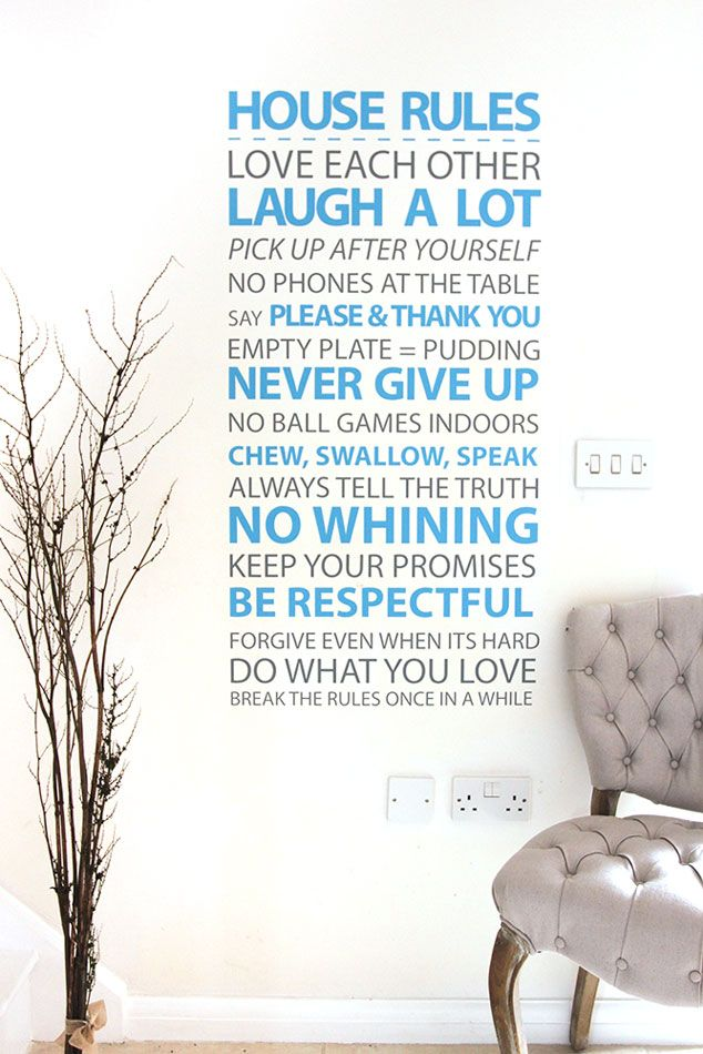 House Rules Vinyl Wall Sticker Wall Decals House Rules And Wall