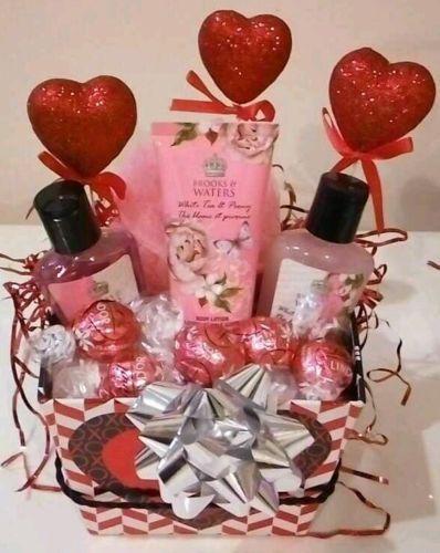 Valentine\'s Gift Basket For Women Pink Bath Body Lotion Shower Gel ...