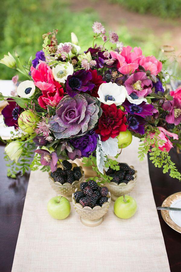 Regal Whimsy Inspiration Wedding flowers, Berry wedding