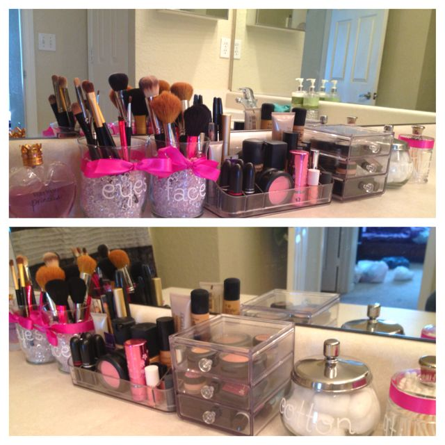 Makeup storage  but not in the bathroom  Set up on a vanity. Makeup storage   everything about this is beautiful    right down