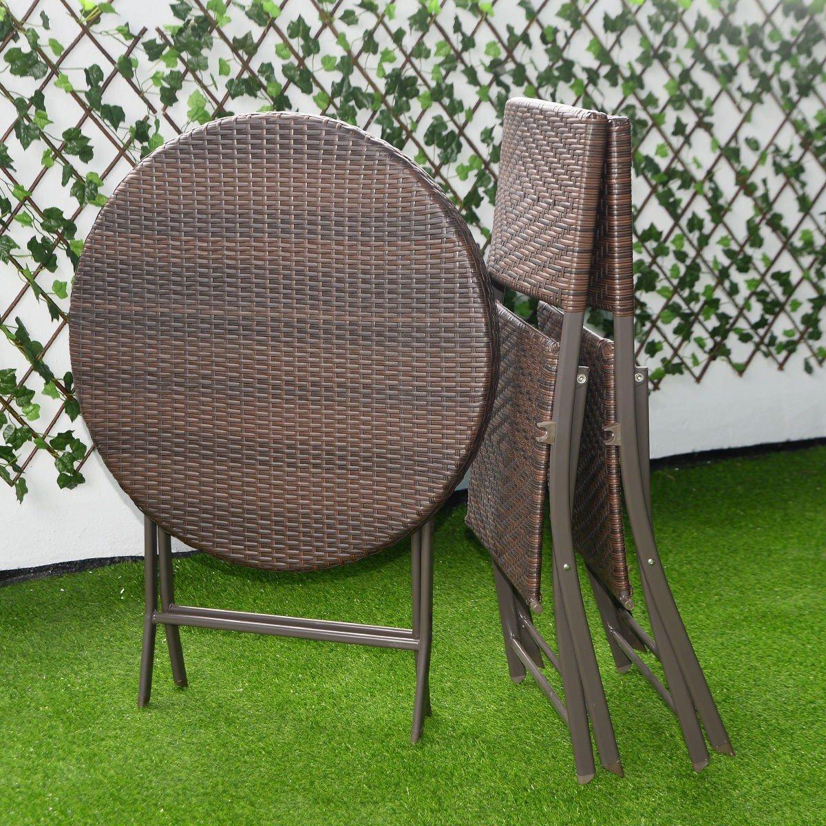 3pc folding round table chair bistro set rattan wicker