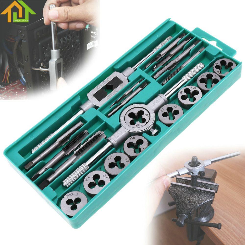 1 16 1 2 Inch 20pcs Tap Die Set Nc Screw Thread Plugs Taps Alloy Steel Hand Screw Taps Taps Dies Tap Wrench Tap Die