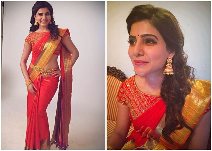 19d18088941001 Samantha in red bridal silk saree and boat neck embroidered blouse ...