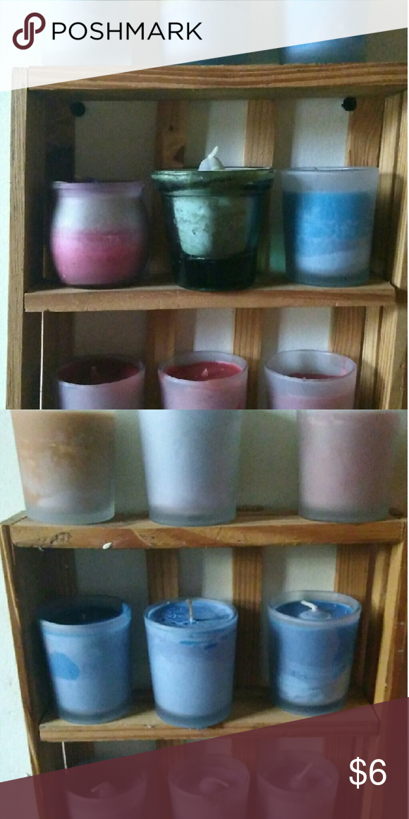 Candles I have made   4 blueberry pie 3 mountain air 1/2 pumpkin 1/2 blueberry 1/2 candy shop 1/2 kiwi lime 1 kiwi lime 4 red 4 lavender 1 chocolate   Can make  2 1/2 pumpkin 5 chocolate fudge 10 black cherry 5 papaya 5 pear  The can do u can do 1/2 one and half another if u want. Just let me know. Other