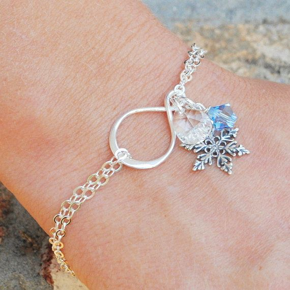 Sterling Silver Snowflake Bracelet Swarovski Crystal Jewelry Infinity