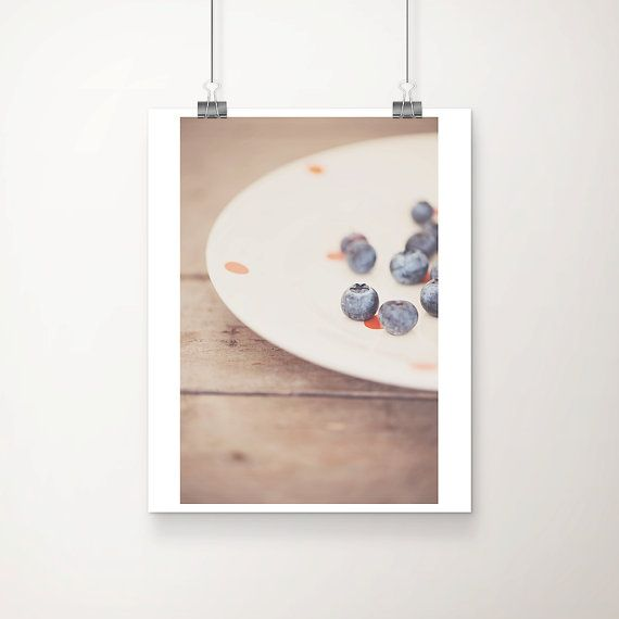 blueberry photography, kitchen wall art, blue fruit photograph, food photography, still life photo, color photography, berry, fresh, rustic