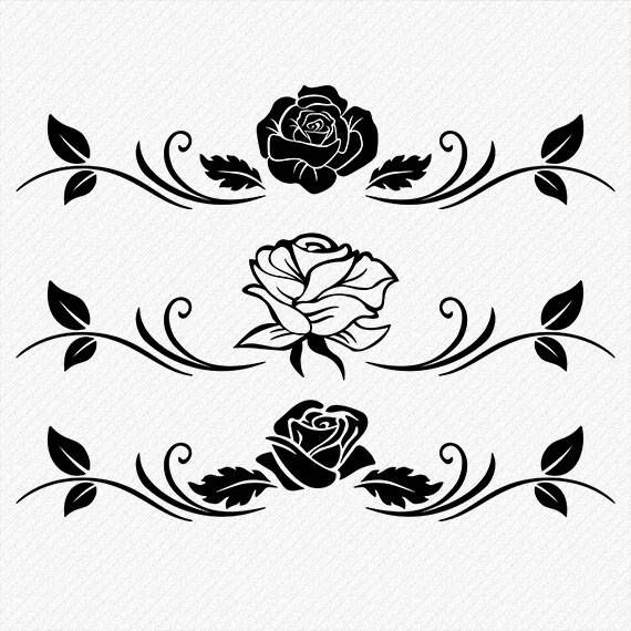 Roses Svg Cutting Files Floral Roses Clipart Set Of 3 Roses For