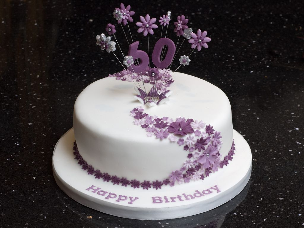 60th Birthday Flower Explosion Birthday Cake For Women Simple