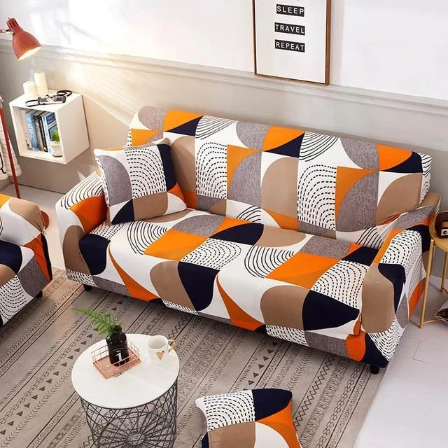 Funky Retro Orange Sofa Cover In 2020 Slipcovers Couch Covers Printed Sofa