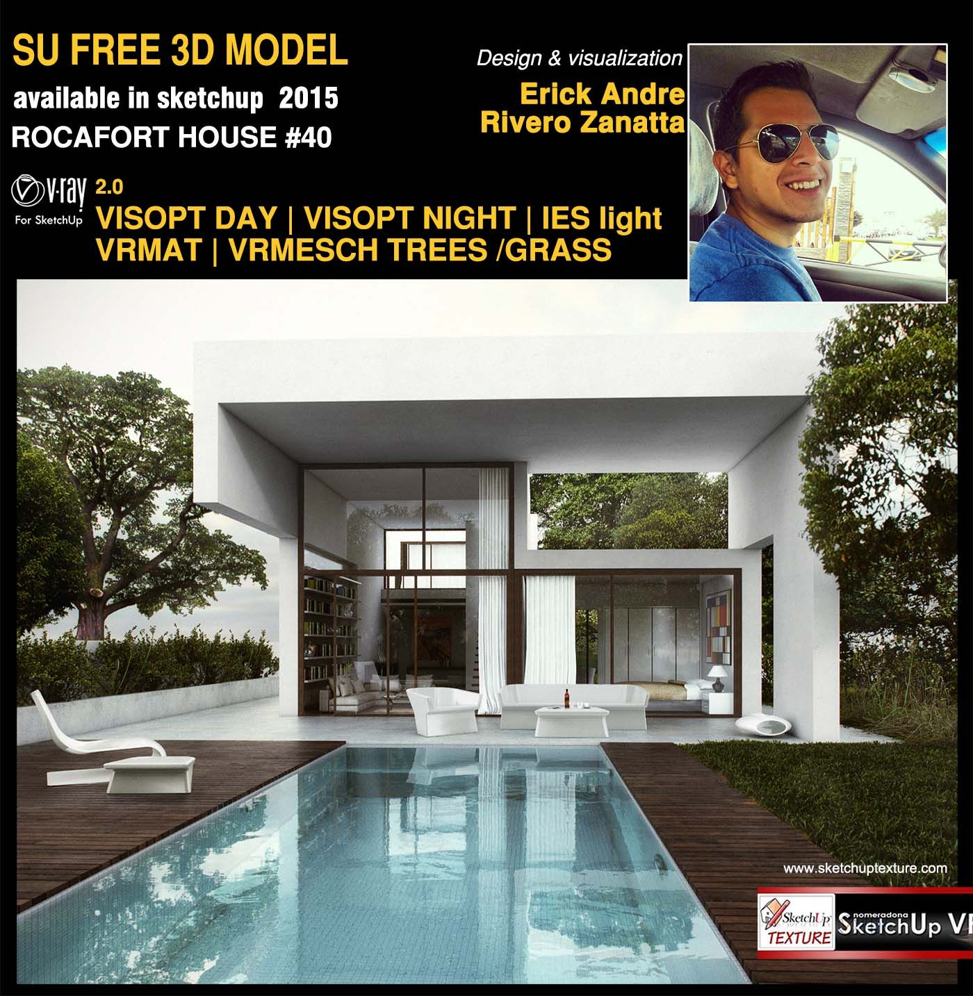 Free Sketchup 3d Model Rocafort House 40 Vray Render Day Scene Renderings Pinterest