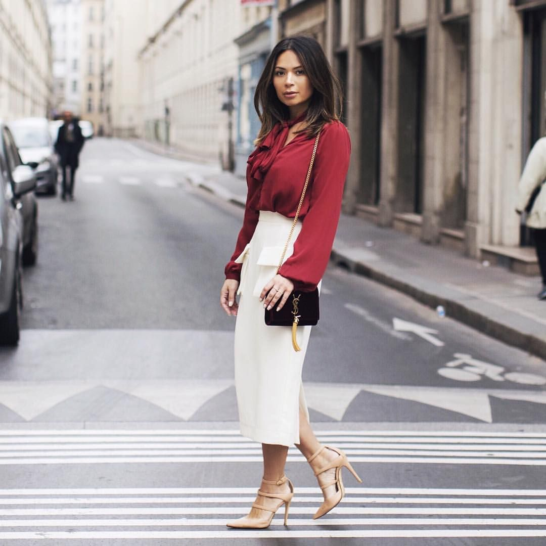 """Marianna Hewitt on Instagram: """"Fall  // top @lacademie_ skirt @tylr_aus shoes @rayethelabel YSL bag from @bluefly #style_withme #paris_withme"""""""