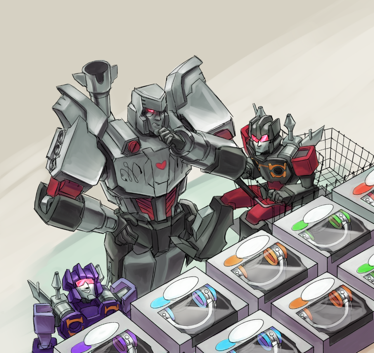 """breadsy: """" I got emperorshark for the tformersgiftexchange2014, so I did megs trying to shop for soundwave! Threw in the twins too, because I figured they might be recruited for such a task. """""""