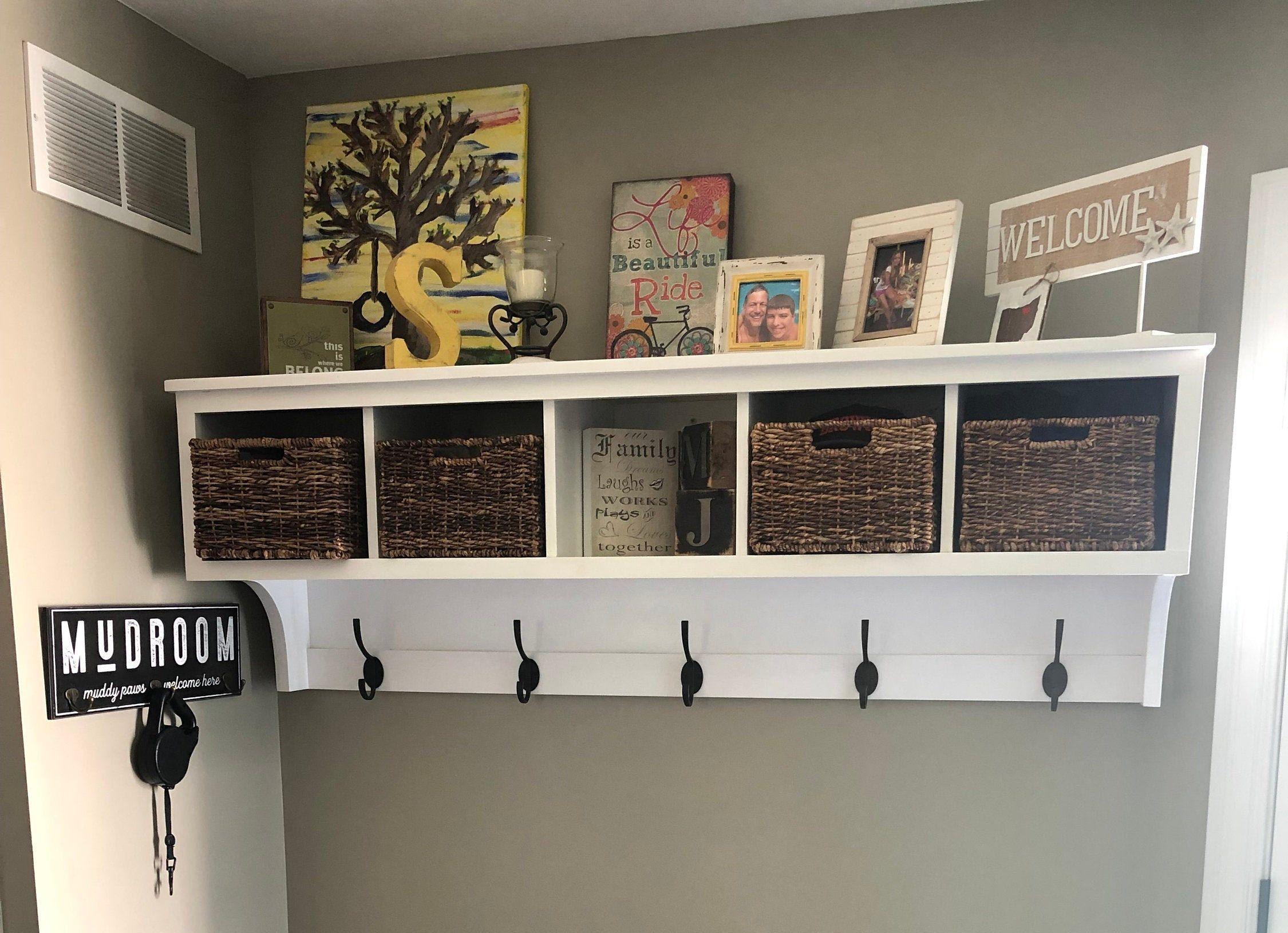 Coat Rack With Storage Shelf Coat Rack Wall Hanging Etsy Coat Rack Wall Storage Bench Bedroom Coat Rack With Storage