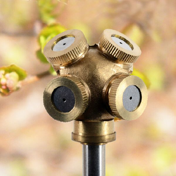 1 4 Inch 4 Hole Brass Spray Nozzle Garden Sprinklers Irrigation Fitting Sprinkler Irrigation Misting Nozzles Garden Sprinklers