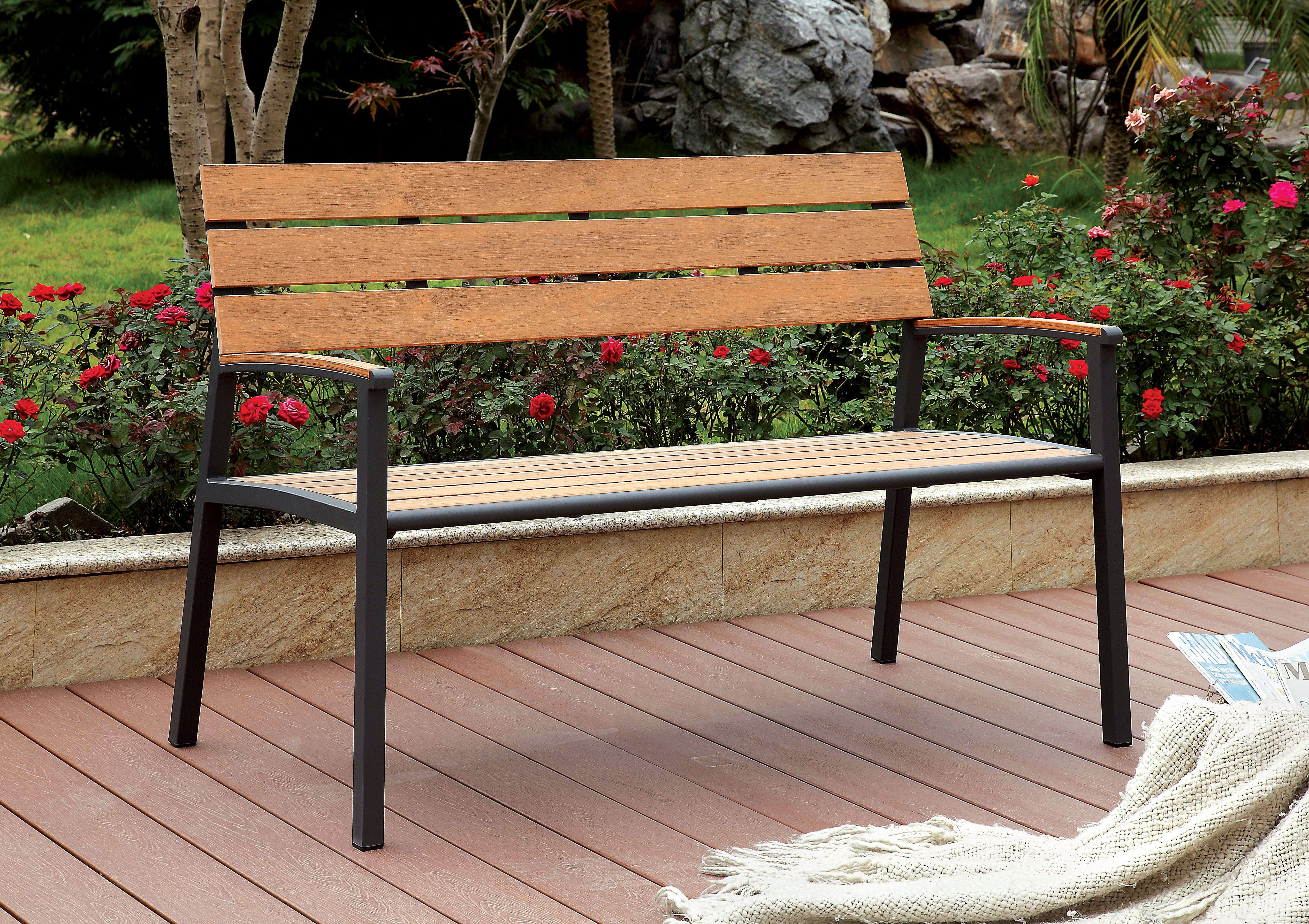 Terrific Rhea Contemporary Style Slat Panel Outdoor Patio Bench In Evergreenethics Interior Chair Design Evergreenethicsorg