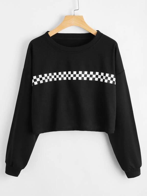 Black Friday 2020 Checkerboard Panel Crop Sweatshirt Romwe Usa In 2020 Crop Sweatshirt Sweatshirts Clothes