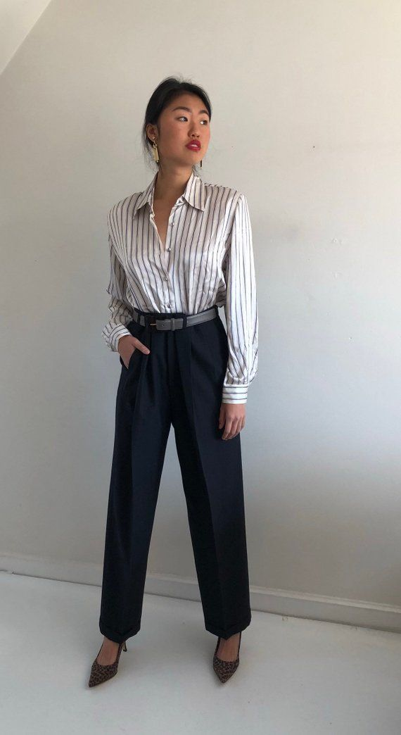 06e89baafa2aa3 90s silk charmeuse pinstripe blouse / button down silk charmeuse shirt /  deadstock liquid silk satin