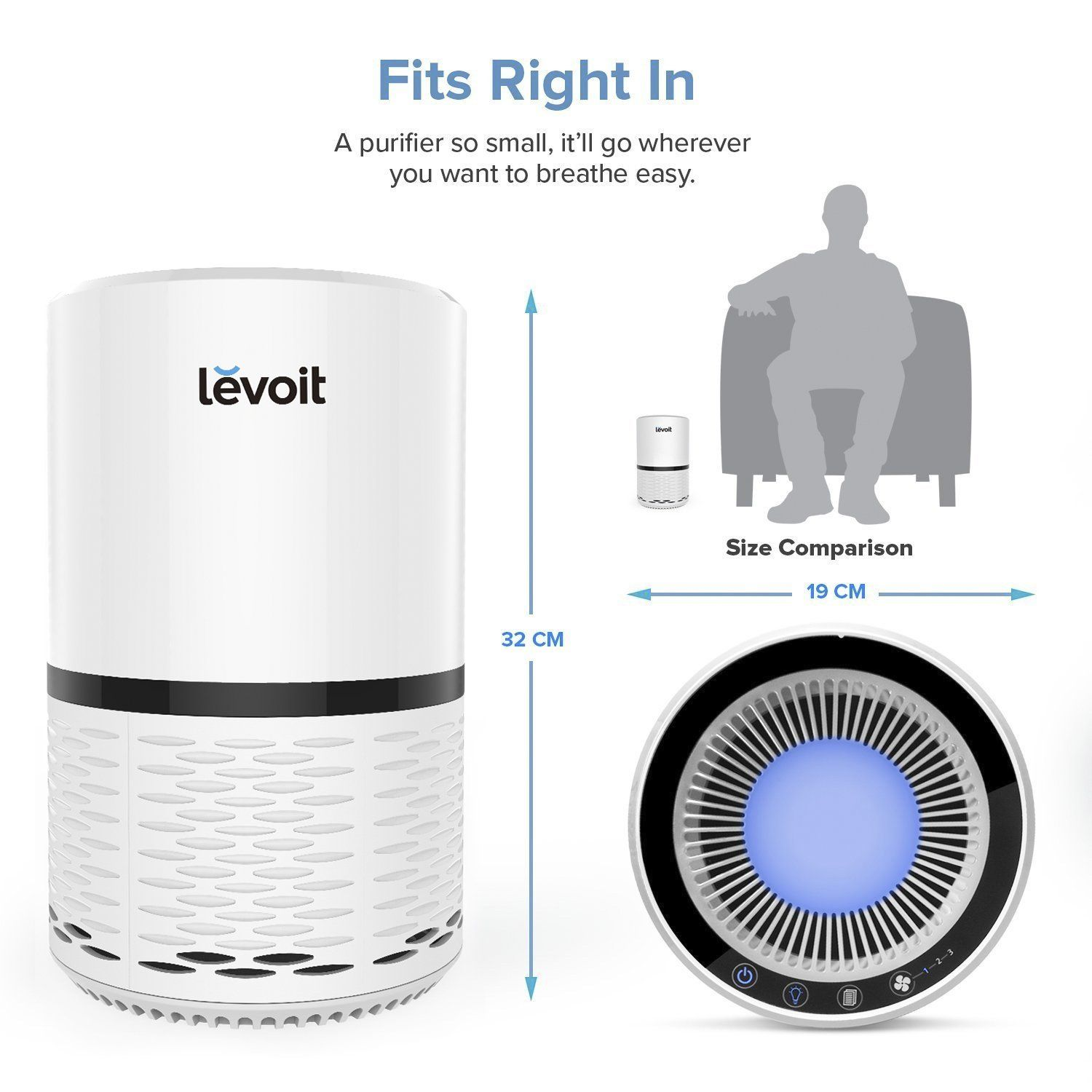 Levoit Lvh132 Air Purifier Filtration With True Hepa Filter Odor Allergies Allergen Eliminator Cleaner For Room Home Pets Smoke D Air Purifier Hepa Filter Hepa