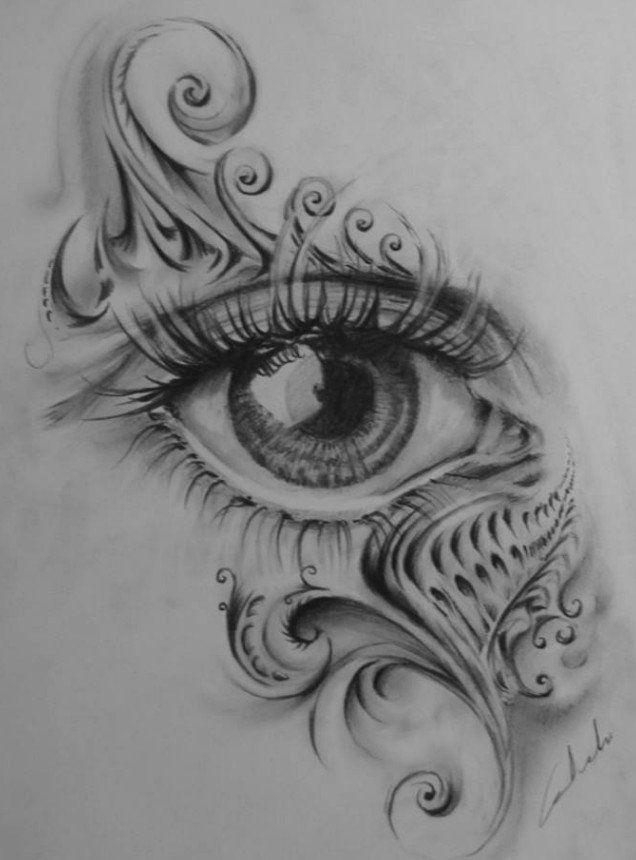 Oko Szkic Projekt Ołówek Loch Studio Tatuażu