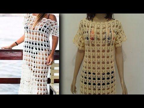 01 vídeo aula vestido longo listrado | Vestido de crochê