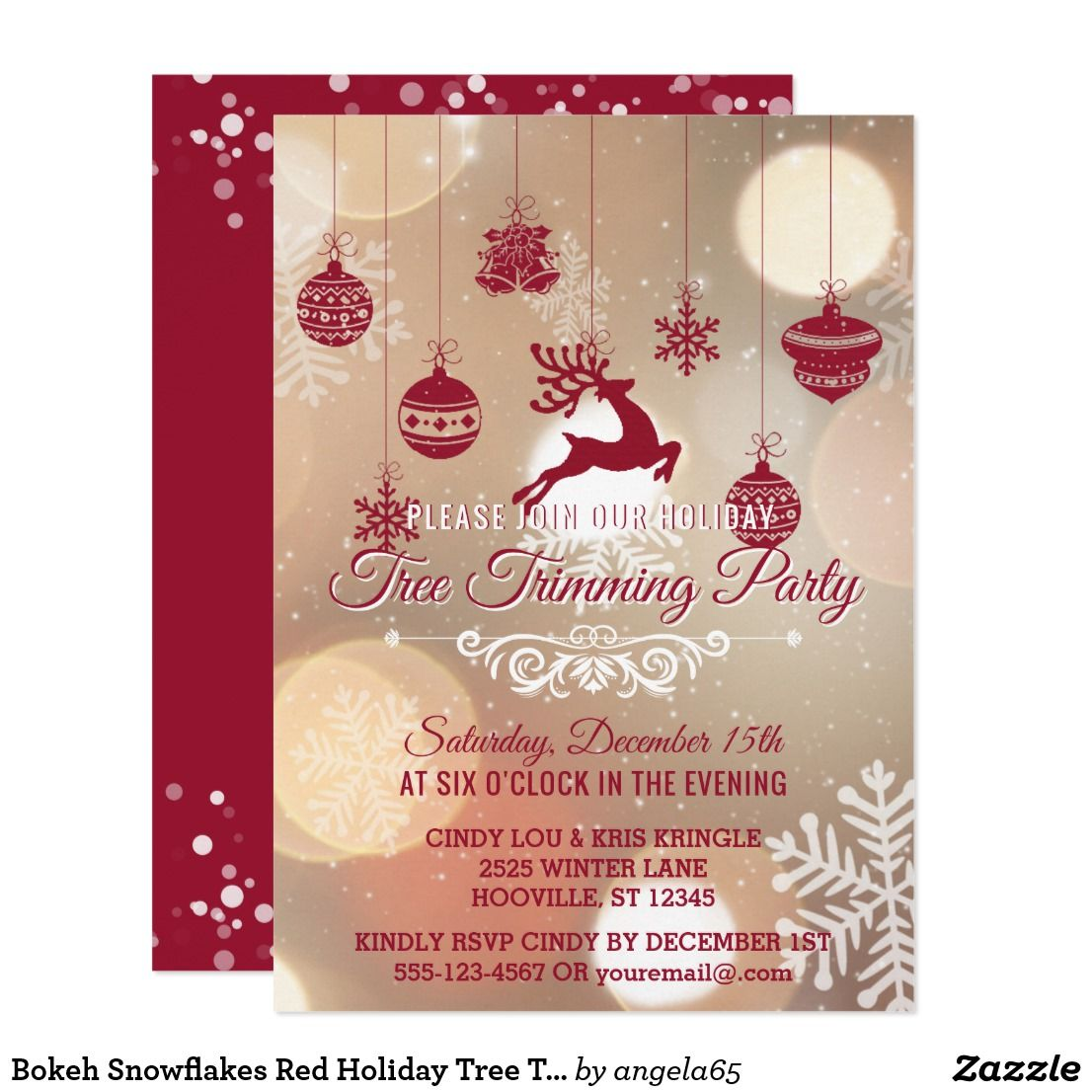 Bokeh Snowflakes Red Holiday Tree Trimming Party Invitation ...