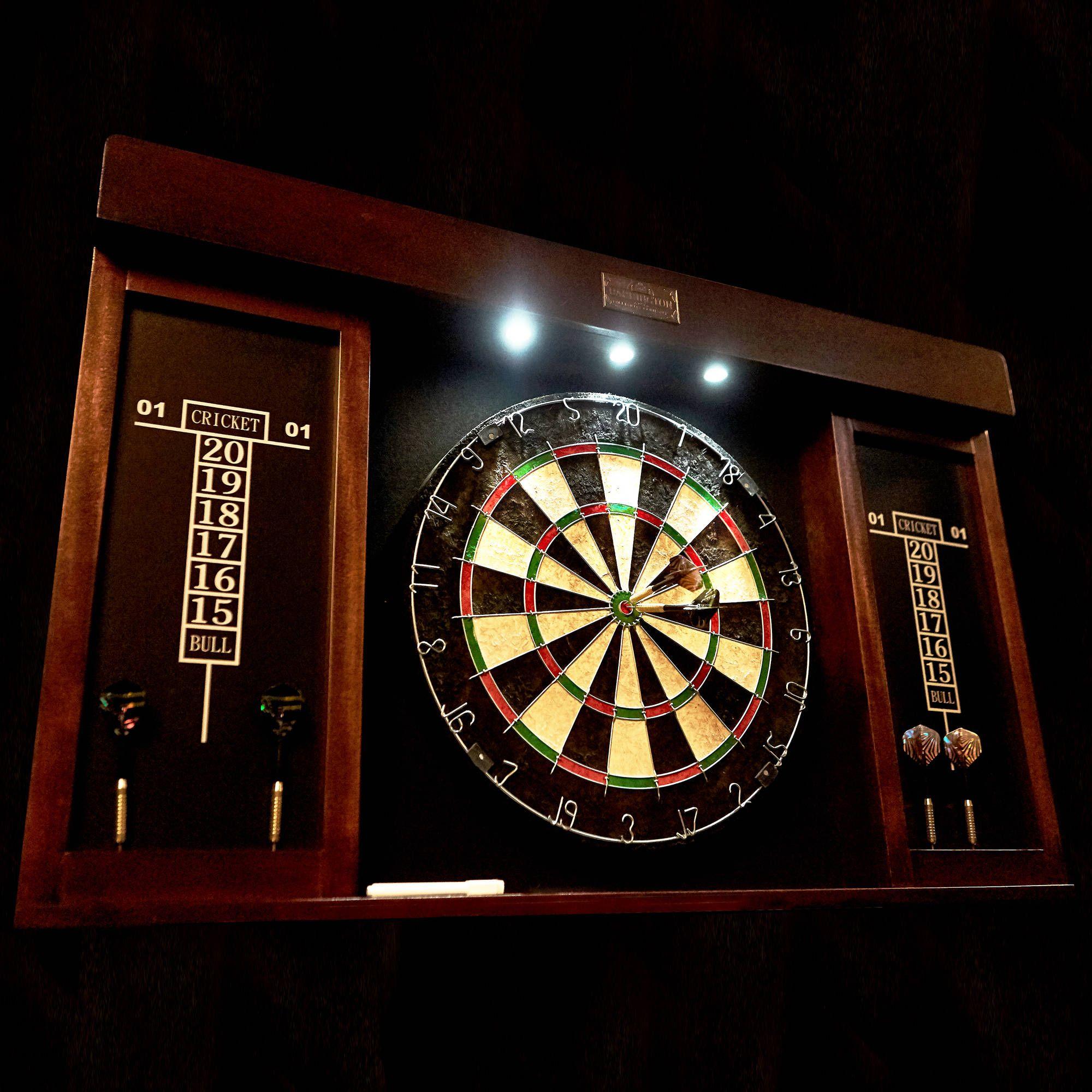 Dartboard Set 40 Wood Darts Cabinet 6 Tipped Dart Marker Eraser with Led Light