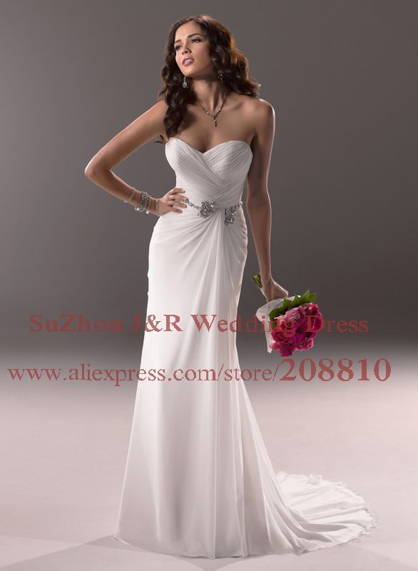 Soft Sweetheart Neckline Crystal Beaded Chiffon Destination Wedding Dress  Corset Back Beach Bridal Gown Tori Free Shipping cd3f48aadc48