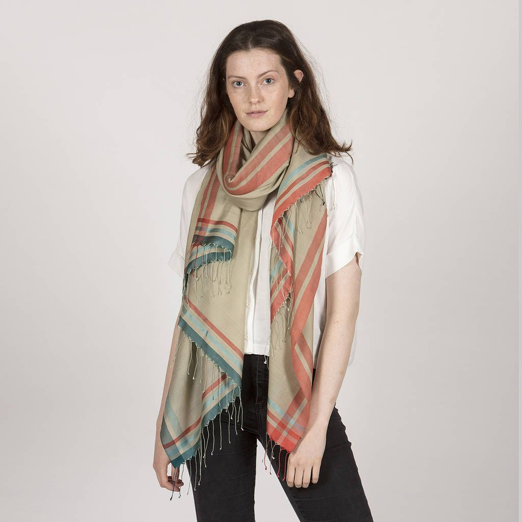 Handwoven Shawl With Contrast Border