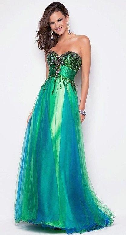 Vestidos de fiesta largos color turquesa
