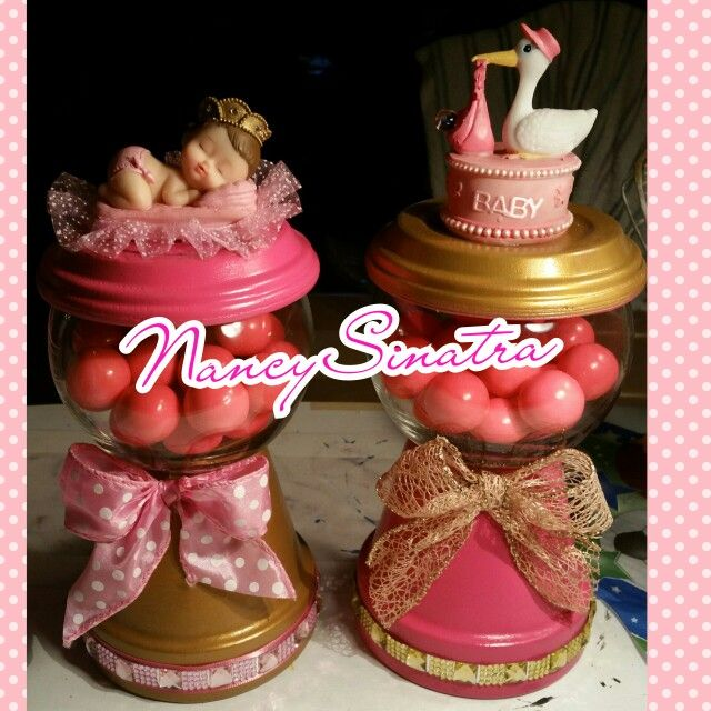 Baby shower gumball jars made by NancySinatra 2016.  For baby Sabrina.  Pink and gold, gold and pink.   https://play.google.com/store/apps/details?id=com.roidapp.photogrid  iPhone  https://itunes.apple.com/us/app/photo-grid-collage-maker/id543577420?mt=8
