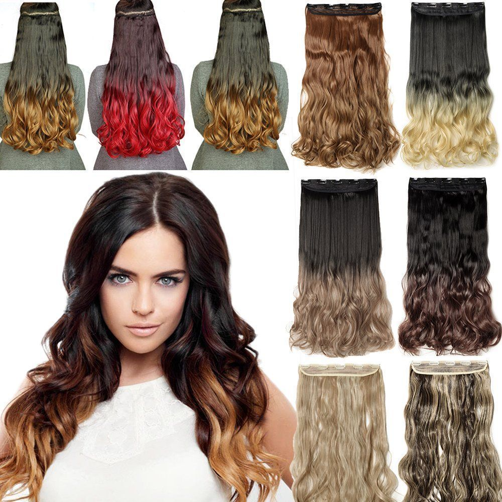 25 Days Delivery 34 Full Head Ombre Piano Color Synthetic Clip In