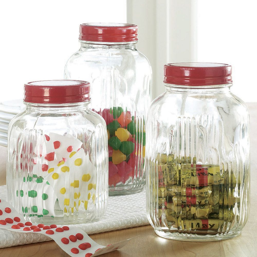 Beau Vintage Glass Jars With Red Lid | Organize.com