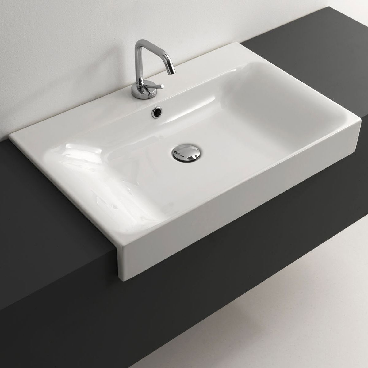 Ws Bath Collections Kerasam Ceramic 27 6 In X 17 7 In White Semi Recessed Bathroom Sink With Images Bathroom Sink Drop In Bathroom Sinks Sink
