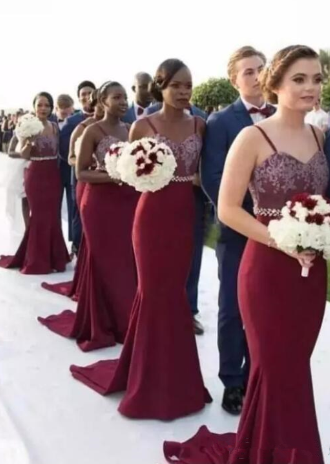 Spaghetti Burgundy Mermaid Bridesmaid Dresses 7552b9c2b