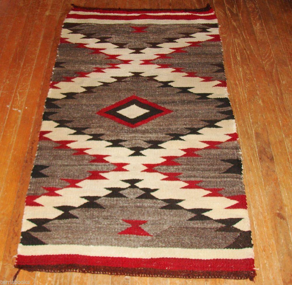 Antique Navajo Rug Grey Tan Red Brown Rare Homespun Wool Blanket Native American